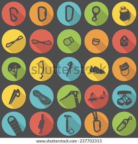 Climbing equipment and gear flat icons vector set - stock vector
