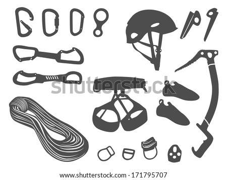 Climbing equipment vector set - stock vector