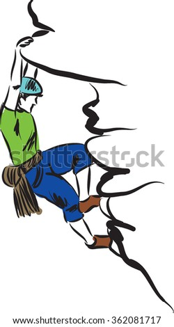 climbing man illustration - stock vector