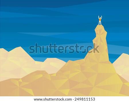 climbing man on top mountain, vector - stock vector