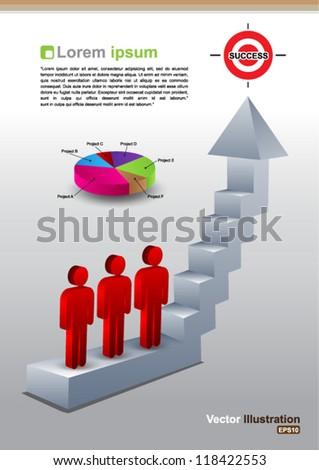 Climbs the ladder of success - stock vector