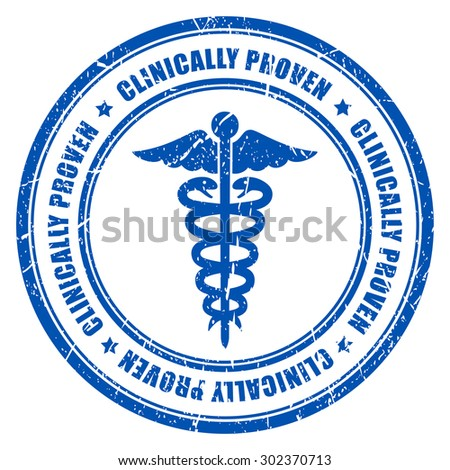 Clinically proven ink rubber stamp - stock vector
