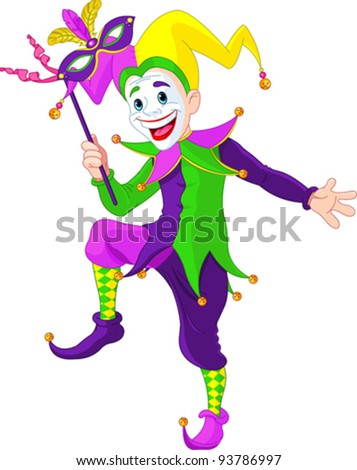 Clip art illustration of a cartoon Mardi Gras jester holding a mask - stock vector