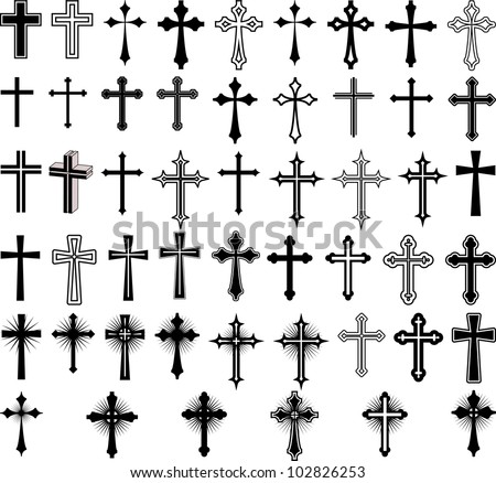 clip art illustration of crosses - stock vector