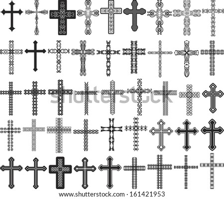 clip art illustration of crosses with ornaments - stock vector