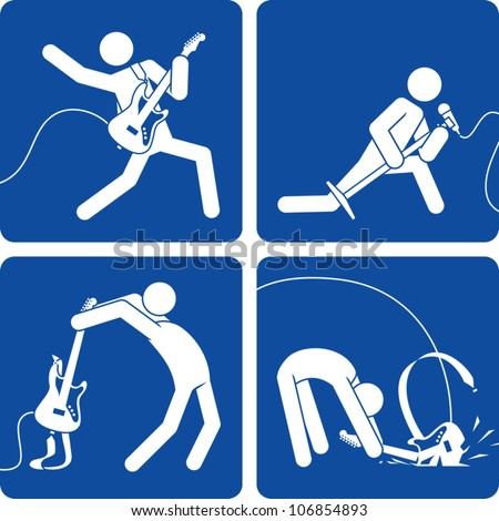 Clip art illustration styled like a universal sign showing stick figure rock and roll artists performing on stage�playing electric guitar, singing, and smashing a guitar. - stock vector