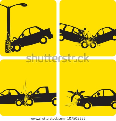 Clip art illustration styled like universal signs showing a series of car accidents. Compositions are inside a clipping mask, so any of the scenes can be expanded to show the whole car or street lamp. - stock vector