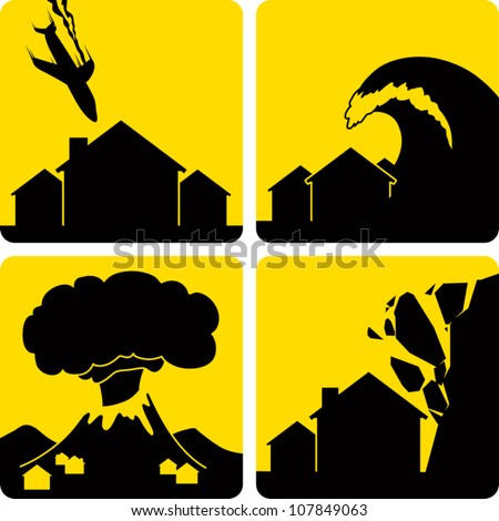 Clip art illustration styled like universal signs showing various natural disasters. Includes plane crash in a residential area, tsunami, volcanic eruption, and rock fall. - stock vector