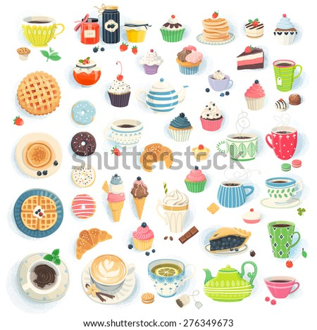 Clip art illustrations of cups, muffins, donuts, cupcakes, pancakes and pies - stock vector