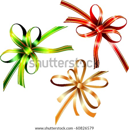 clip-art of holiday color gift ribbons with bow. vector sample for greetings box. isolated on white - stock vector