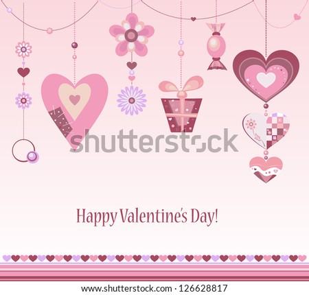 Clip art vector Happy Valentine Day colorful greeting card with different elements like ornate hearts, flowers, presents, gifts, ring and beads hanging from top. Love spring mood - stock vector