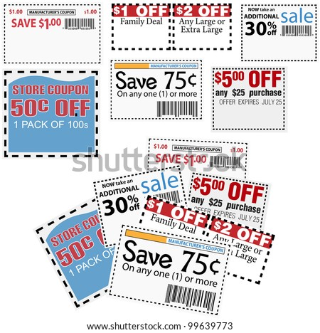 Clip this group of six print coupons as elements store sale ad designs - stock vector