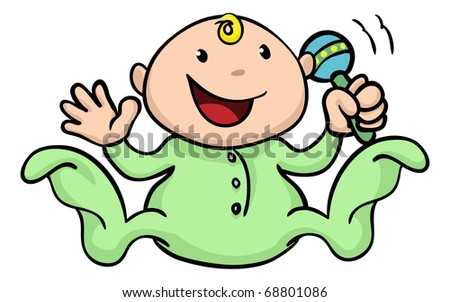 Clipart illustration of a happy cute baby playing with his or her rattle and waving - stock vector