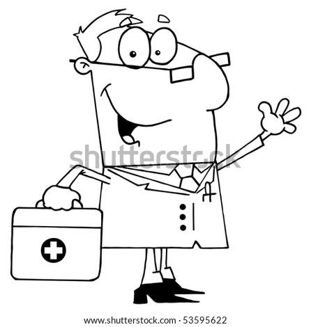 Clipart Illustration of an Outlined Doctor - stock vector