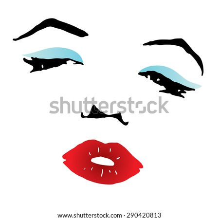clipart of a beautiful woman with red sexy lips and blue eyeshadow - stock vector