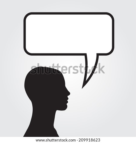 Clipart of man with speech bubble. Vector illustration - stock vector