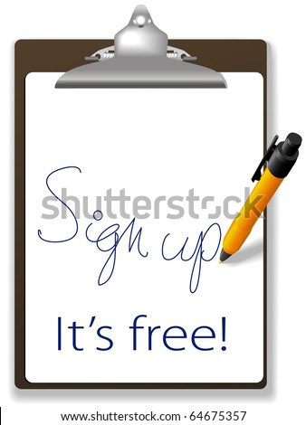 Clipboard and pen icon invites guests to click link and sign up for free to join your website, add text and graphics in background copy space. - stock vector