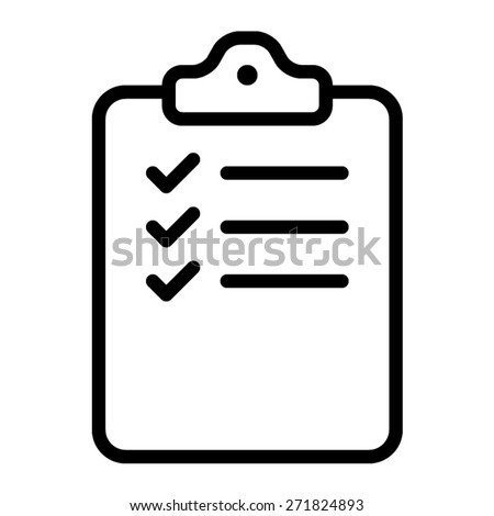 clipboard checklist or clipboard survey form line art icon for apps and websites - stock vector