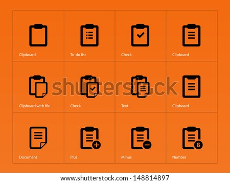 Clipboard icons on orange background. Vector illustration. - stock vector