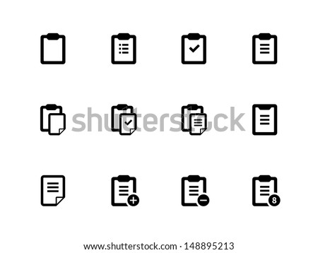 Clipboard icons on white background. Vector illustration. - stock vector