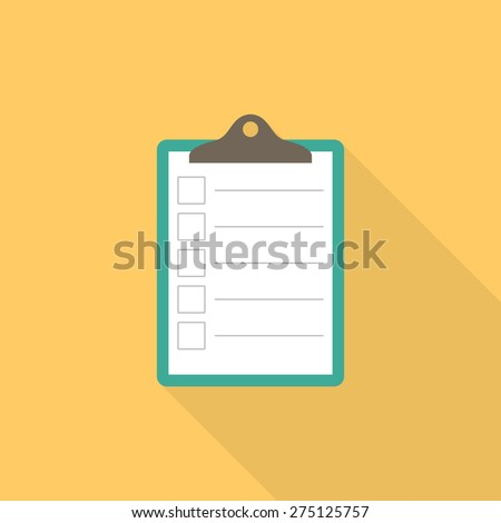 Clipboard, list icon with long shadow - Vector - stock vector