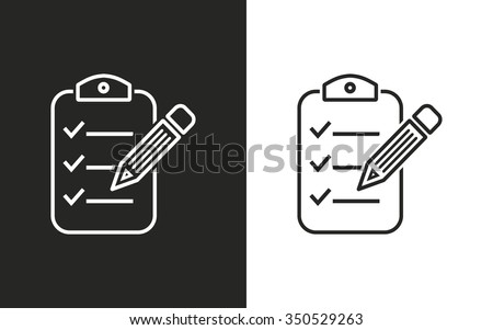 Clipboard pencil  -  black and white icons. Vector illustration - stock vector