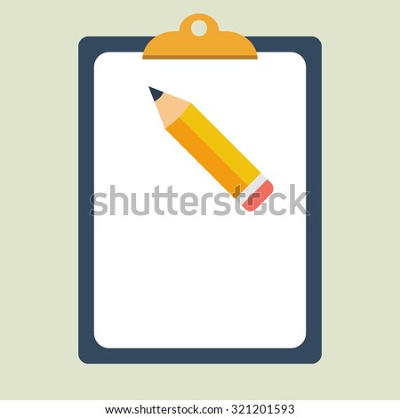 Clipboard. Pencil. Flat style. Vector illustration - stock vector