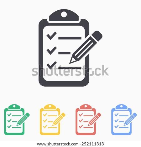 Clipboard pencil icon - stock vector