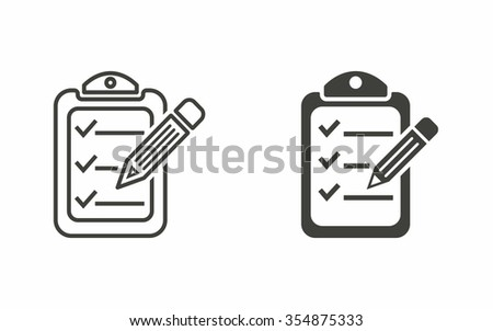 Clipboard pencil  icon  on white background. Vector illustration. - stock vector