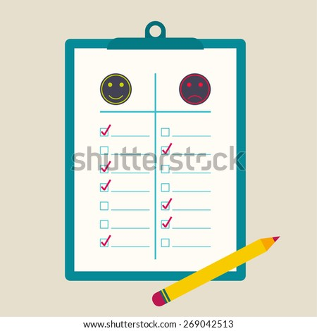 clipboard  to comparative rating with check box and pencil. The concept of evaluation and feedback. Positive and negative emotions. flat design. - stock vector