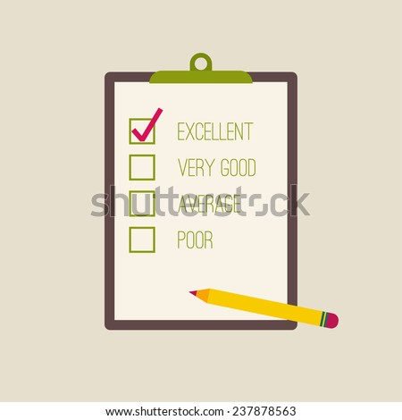 clipboard  to the rating with check box and pencil. The concept of evaluation and feedback - stock vector