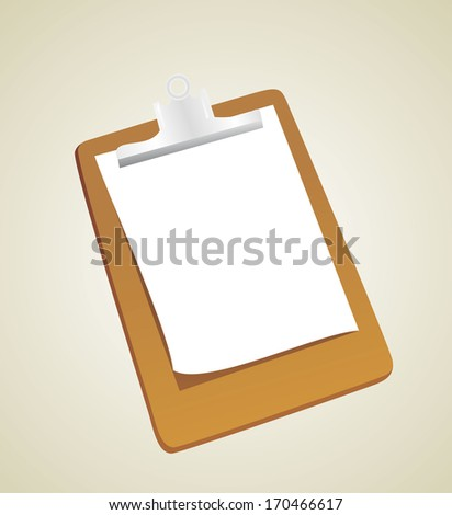 Clipboard with a sheet of paper - stock vector