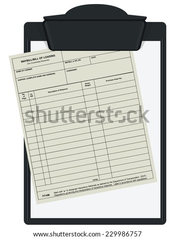 Clipboard with accounting forms waybill. Vector illustration. - stock vector