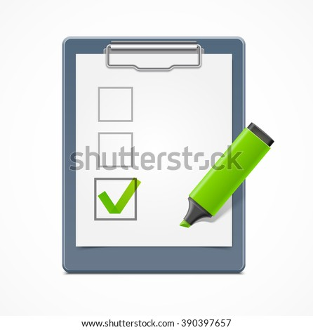 Clipboard with check box and green marker - stock vector