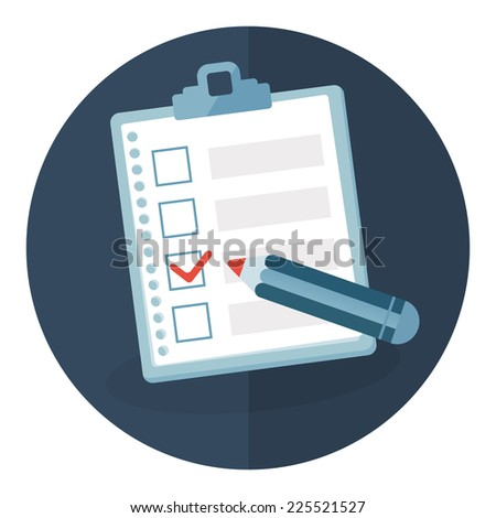 Clipboard with check list. Vector illustration. - stock vector