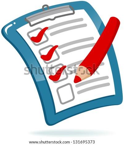Clipboard with Checklist - stock vector