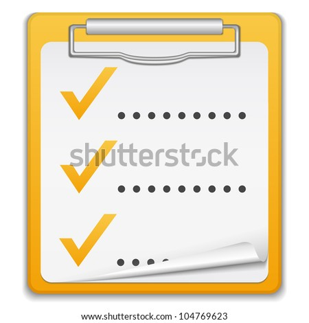 Clipboard with checklist, vector eps10 illustration - stock vector
