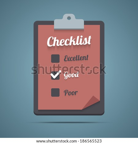 Clipboard with checklist. Vector illustration in EPS10. - stock vector