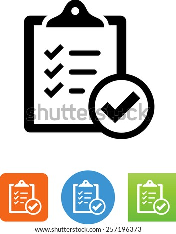 Clipboard with checkmark symbol for download. Vector icons for video, mobile apps, Web sites and print projects.  - stock vector