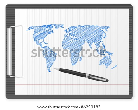 Clipboard with drawing world map. Vector illustration. - stock vector