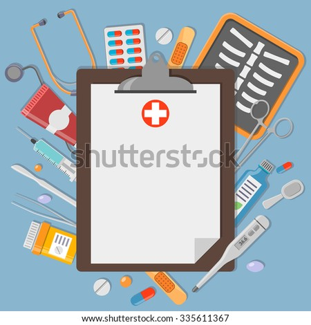 Clipboard with medical elements. Healthcare and medicine illustration - stock vector