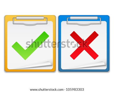 Clipboards with check and cross symbols, vector eps10 illustration - stock vector