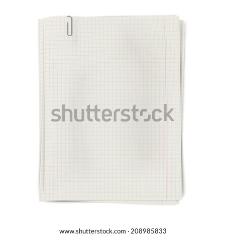 Clipped pile of squared sheets of paper isolated on white background - stock vector