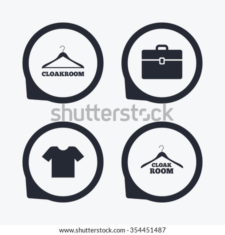 Cloakroom icons. Hanger wardrobe signs. T-shirt clothes and baggage symbols. Flat icon pointers. - stock vector