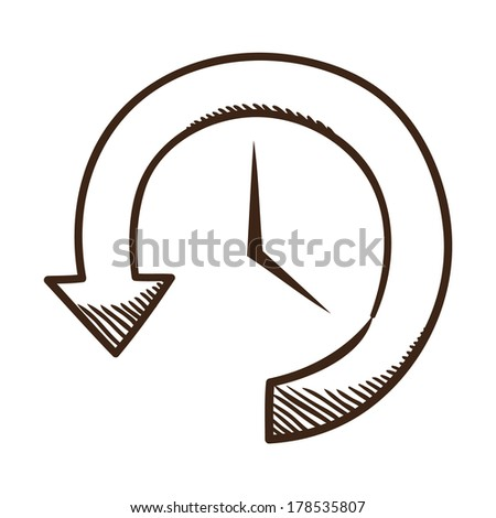 Clock and arrow. Sketch symbol isolated on white. - stock vector