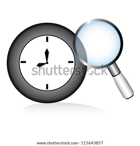 clock and magnifier - stock vector