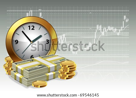 Clock and money on a background of the exchange graph. Time is money concept. Vector illustration. - stock vector