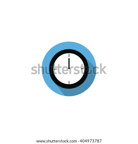 Clock at 12:00 noon or 0:00 midnight flat blue icon clock - stock vector