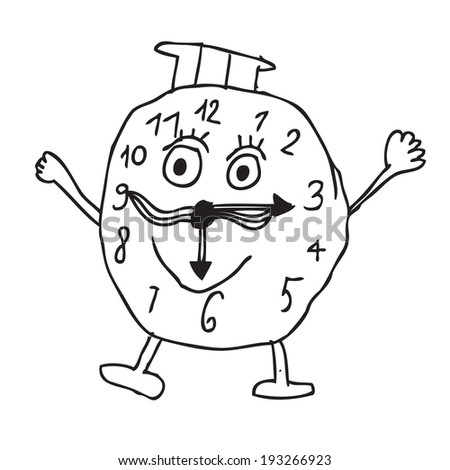 Clock childish drawing doodle - stock vector