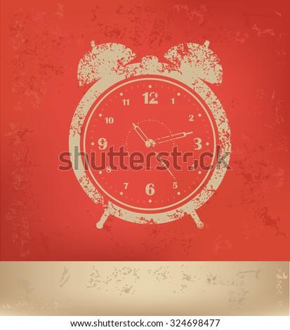 Clock design on red background, grunge vector - stock vector